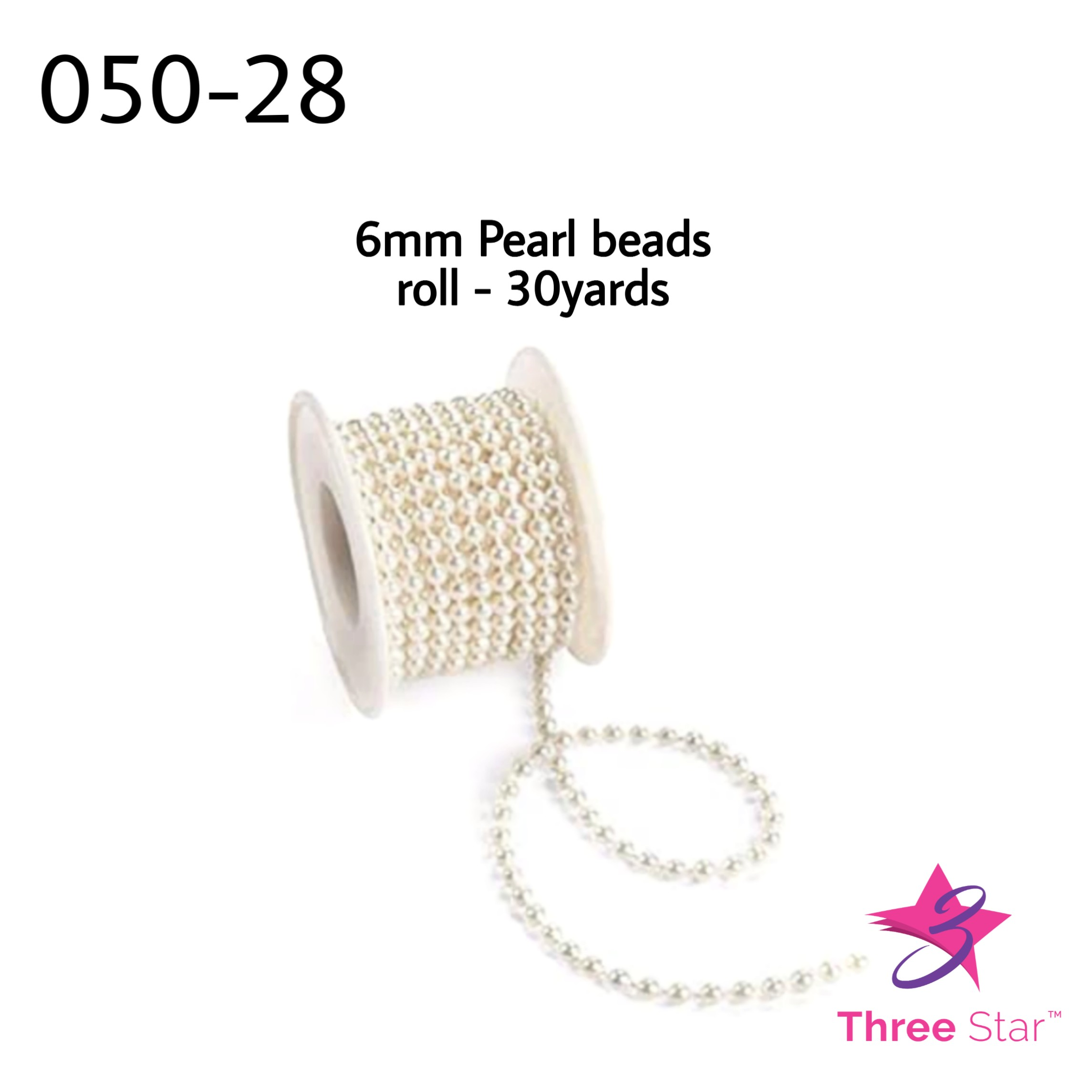 6mm Pearl bead 30 yards